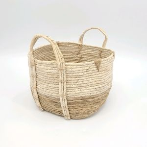 Two Tones Natural Straw Basket